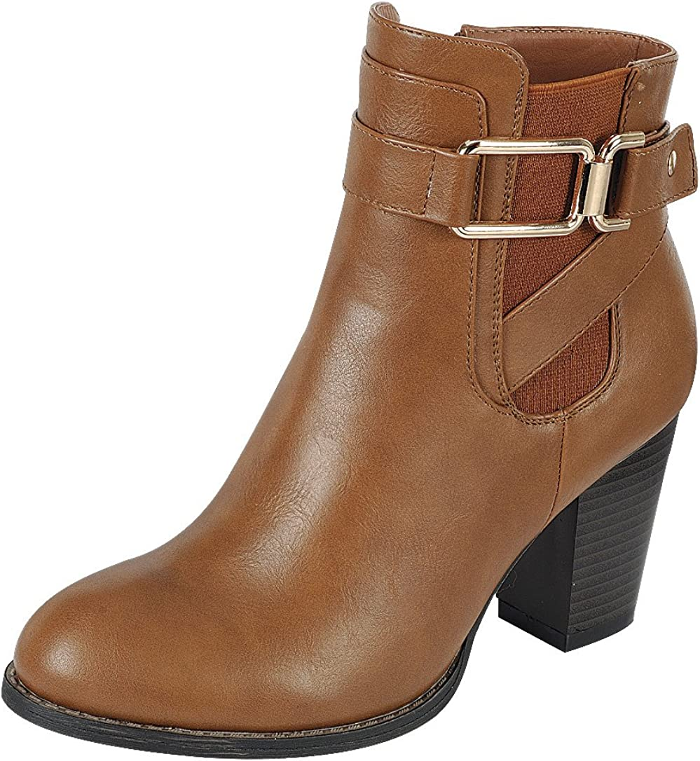 Cambridge Select Women's Chelsea Strappy Buckle Chunky Stacked Heel Ankle Bootie