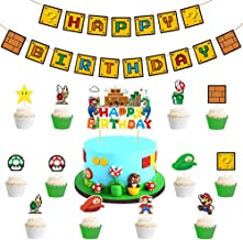 LLMZ Cupcake Toppers 26PCS Banderole Happy Birthday CupcakeToppers pour Enfants Décoration de Anime Fête D'anniversaire