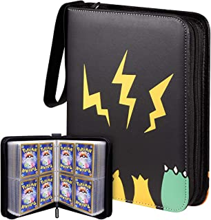 Geecow 4-Pocket Binder Compatible with Pokemon Cards, Portable Storage Case with Removable Sheets Holds Up to 400 Cards-Toys Gifts for 3-8 Year Old Boys Girls(Black)