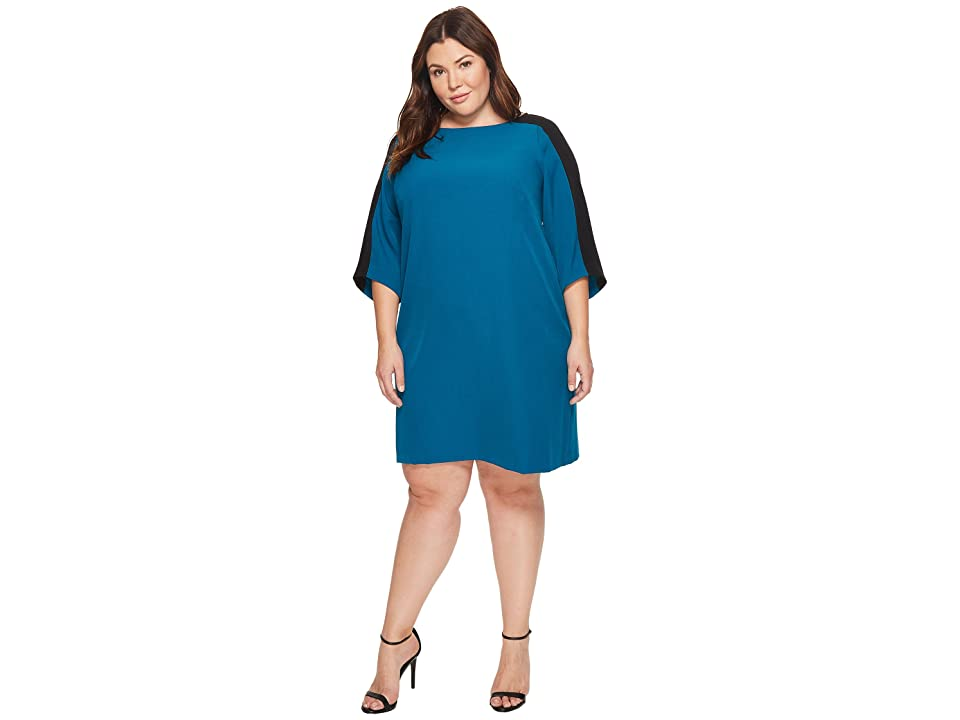 Adrianna Papell Plus Size Stretch Crepe Shift Dress (Winter Lagoon) Women