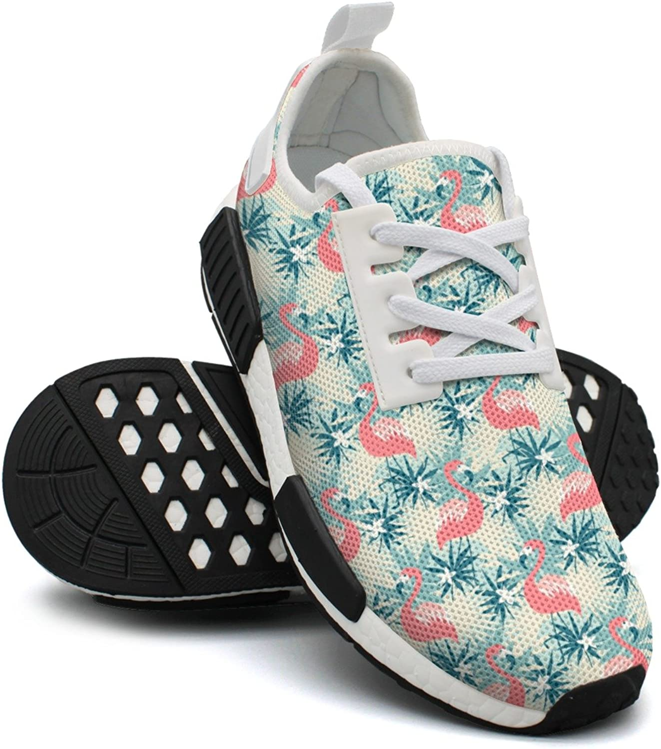Ktyyuwwww Women's colorful New Flamingo and Tropical Plants Navy Sports Running shoes