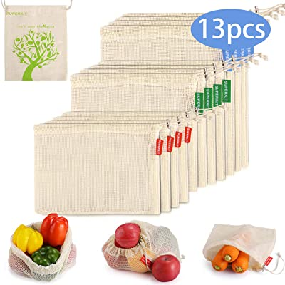 SUPERKIT Produce Bags 12pcs Cotton Produce Bags