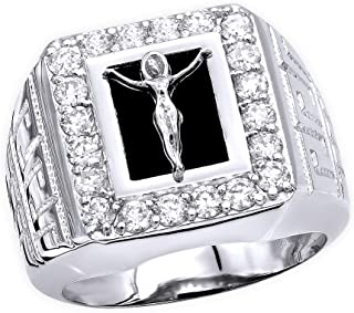 Mens Crucifix Ring Black Onyx Diamond Band in 14K Gold 1.5ctw by Luxurman