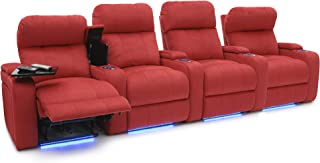 Seatcraft Bonita Home Theater Seating Bella Fabric Power Recline with Adjustable Powered Headrest, in-Arm Storage, USB Charging, Swivel Tray Tables, Lighted Cup Holders and Base, Row of 4, Red
