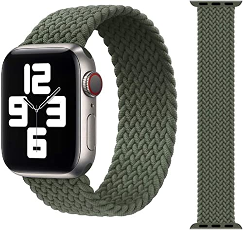 ZHONGGOZZ Braided Solo Loop Strap for Apple Watch Band 44mm 40mm 38mm 42mm Nylon Elastic Belt Bracelet for iWatch Series 6 SE 5 4 3 Color Inverness Green Size M 42mm 44mm
