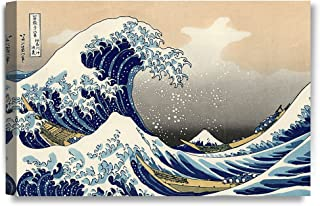 DECORARTS - The Great Wave Off Kanagawa, Katsushika Hokusai Classic Art Reproductions. Giclee Canvas Prints Wall Art for Home Decor. 24x16