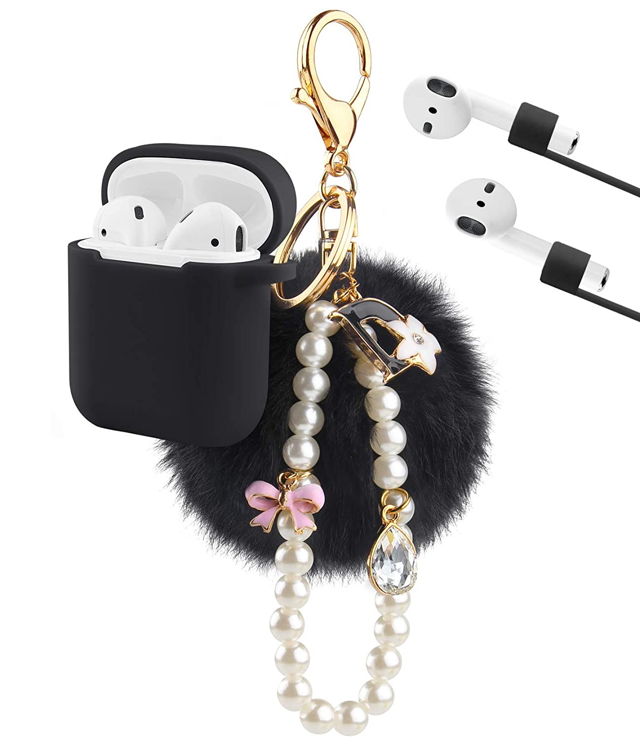 Airpods Case, KMMIN AirPods Protective Case Cover for Apple Air Pods 2&1 Charging Case Premium Silicone Skin Case Cover with Airpods Ear Hook Grips/Anti-Lost Cute Fur Ball Keychain- Black(New Version)