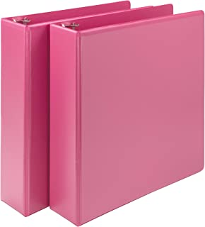 Samsill Earth's Choice Biobased Durable Fashion Color 3 Ring View Binder, 2 Inch Round Ring, Up to 25% Plant Based Plasti, USDA Certified Biobased, Pink Berry, Value Two Pack