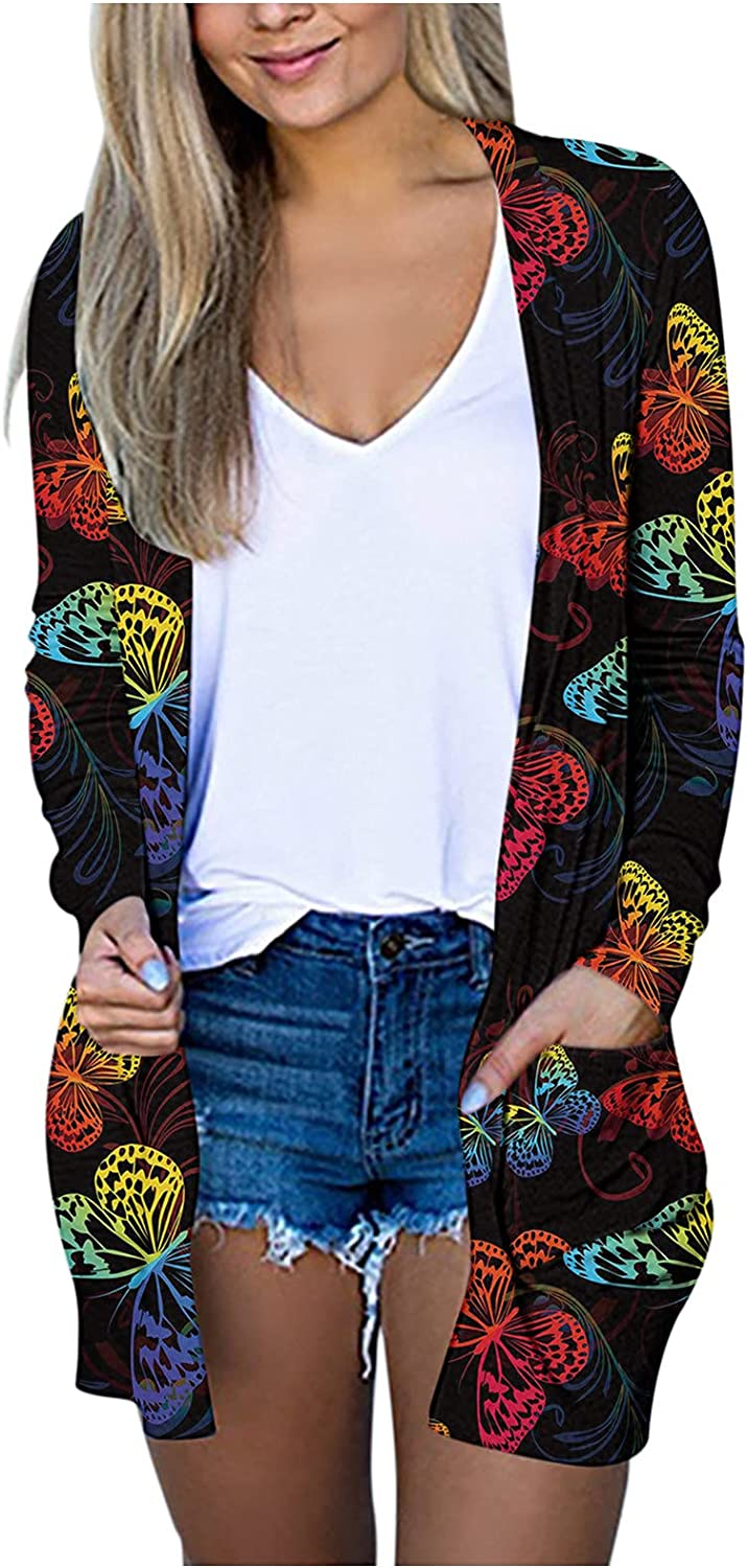Xinantime Women's Cardigans with Pockets Casual Lightweight Open Front Cardigan Printed Mid-Length Open Front Coat