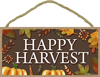 Happy Harvest- 5 x 10 inch Hanging Signs, Wall Art, Decorative Wood Sign,Fall/Autumn Decor
