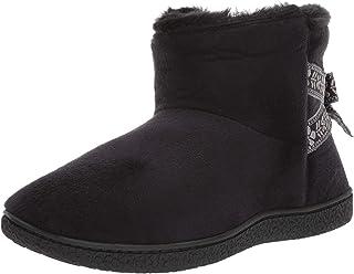 حذاء برقبة من الإسفنج الذكي من Isotoner من الفرو الصناعي وتفاصيل القوس مع نعل مريح داخلي خارجي