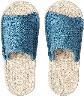 Muji Indian Cotton Open Toe Room Sandals - Large (Ecru/Blue)