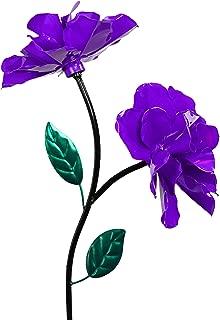 Exhart Two Purple Roses Wind Spinner Garden Stake - Rose Flower Spinners Hand Painted in Metallic Purple & Green Colors - Fade-Resistant Metal Rose Pinwheels - Kinetic Art Flower Décor, 10