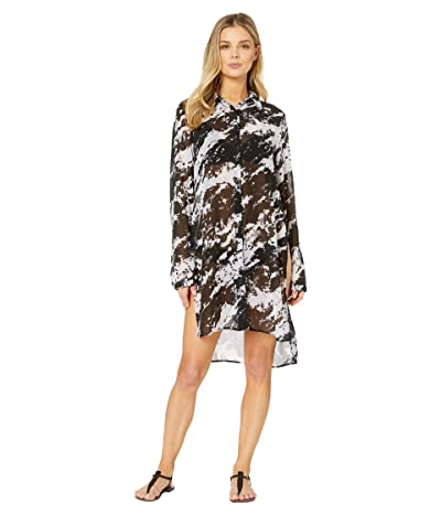 Carmen Marc Valvo Splash Noir Shirt Cover-Up w/ Tie Front (Black) Women