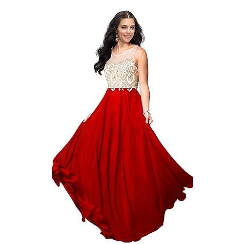 2810cb43ddd Lily Wedding Womens Beaded Gold Applique Prom Dress 2019 Long Chiffon Bridesmaid  Dresses Sleeveless Evening Formal