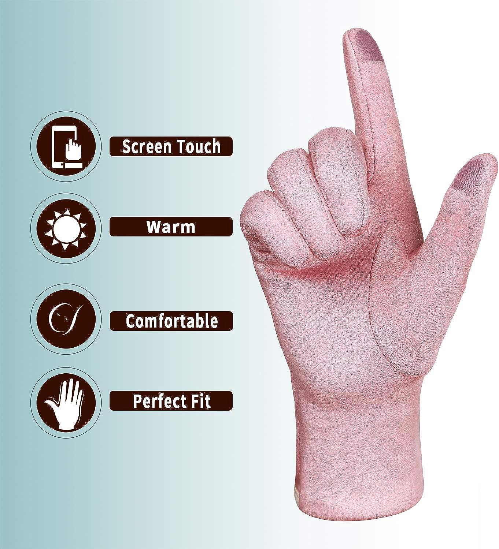 Achiou Women Winter Touchscreen Gloves Thin Soft Comfortable Warm Elastic