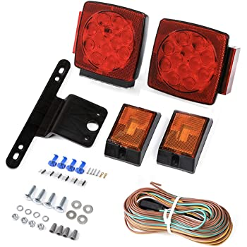 CZC AUTO 12V Submersible LED Trailer Tail Light Kit for Under 80 Inch Trailer Boat Utility Trailer Waterproof (Trailer Light kit)