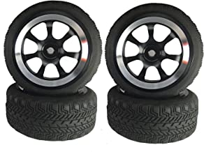 Boliduo 1/10 RC On Road Car 65mm Tires and Aluminium Alloy Wheels for 1:10 Scale RC On Road Touring Drifting Racing Car Traxxas HSP HPI Kyosho