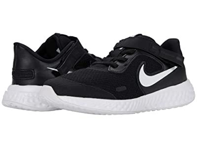 Nike Kids Flyease Revolution 5 (Little Kid) (Black/White) Kid