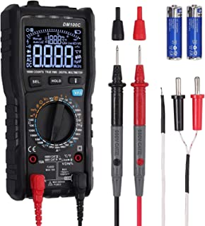 CAMWAY Digital Multimeter Manual & Auto Mode 3-Line Display 10000 Counts True RMS Auto-Ranging DMM VFC Temperature Capacitance AC/DC Voltage Current Battery Tester with Analog Bargraph