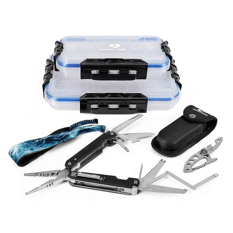 Mossy Oak 5pc Fishing Tool Kit - 25-in-1 Fishing Multi-Tool with Sheath, 10-in-1 Utility Carabiner, Sunglasses Retainer, 2-Piece Waterproof Bait Box