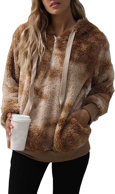 Solyinne Women's Tie-dye Fuzzy Fleece Pullover Half Zip Casual Pullover Jacket Faux Fur Warm Cute Outwear