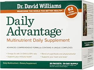 Dr. David Williams' Daily Advantage Multi-Nutrient Vitamin Supplement for Immune, Cardio, and Cognitive Health and Total B...