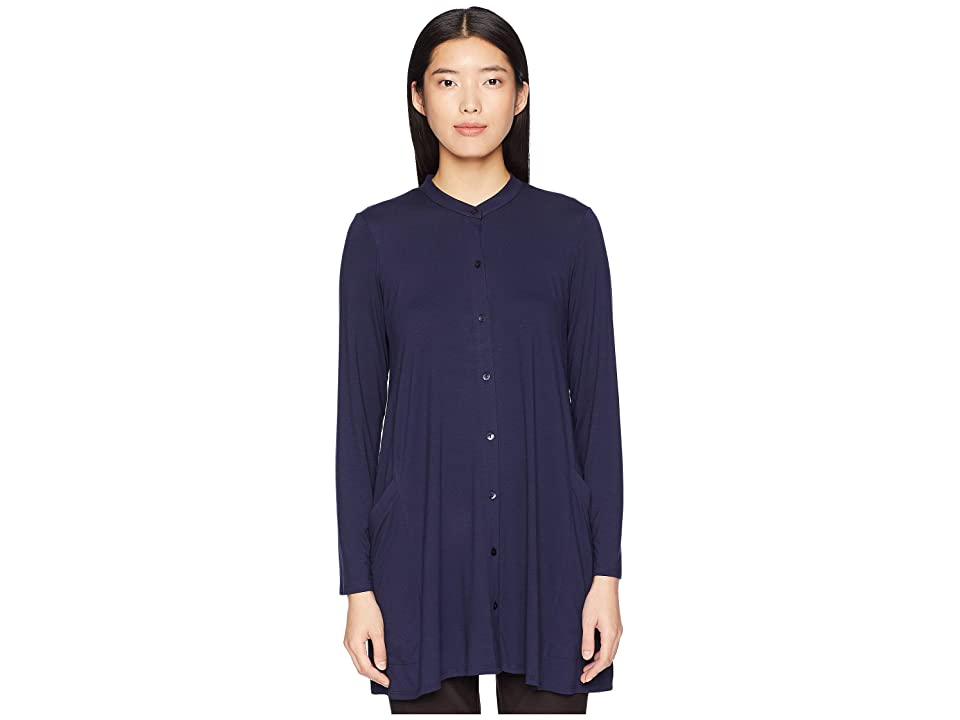 Eileen Fisher Lightweight Viscose Jersey Mandarin Collar Tunic (Midnight) Women