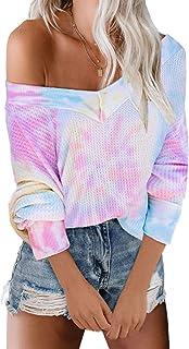 Eytino Women Cowl Neck Long Sleeve Casual Color Block Drawstring Tunic Sweatshirt Tops