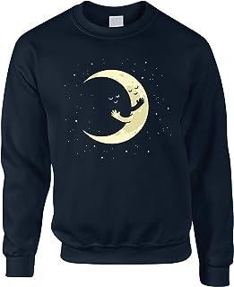 Cute Moon Jumper Hugging Night Sky Cartoon Sweatshirt Sweater