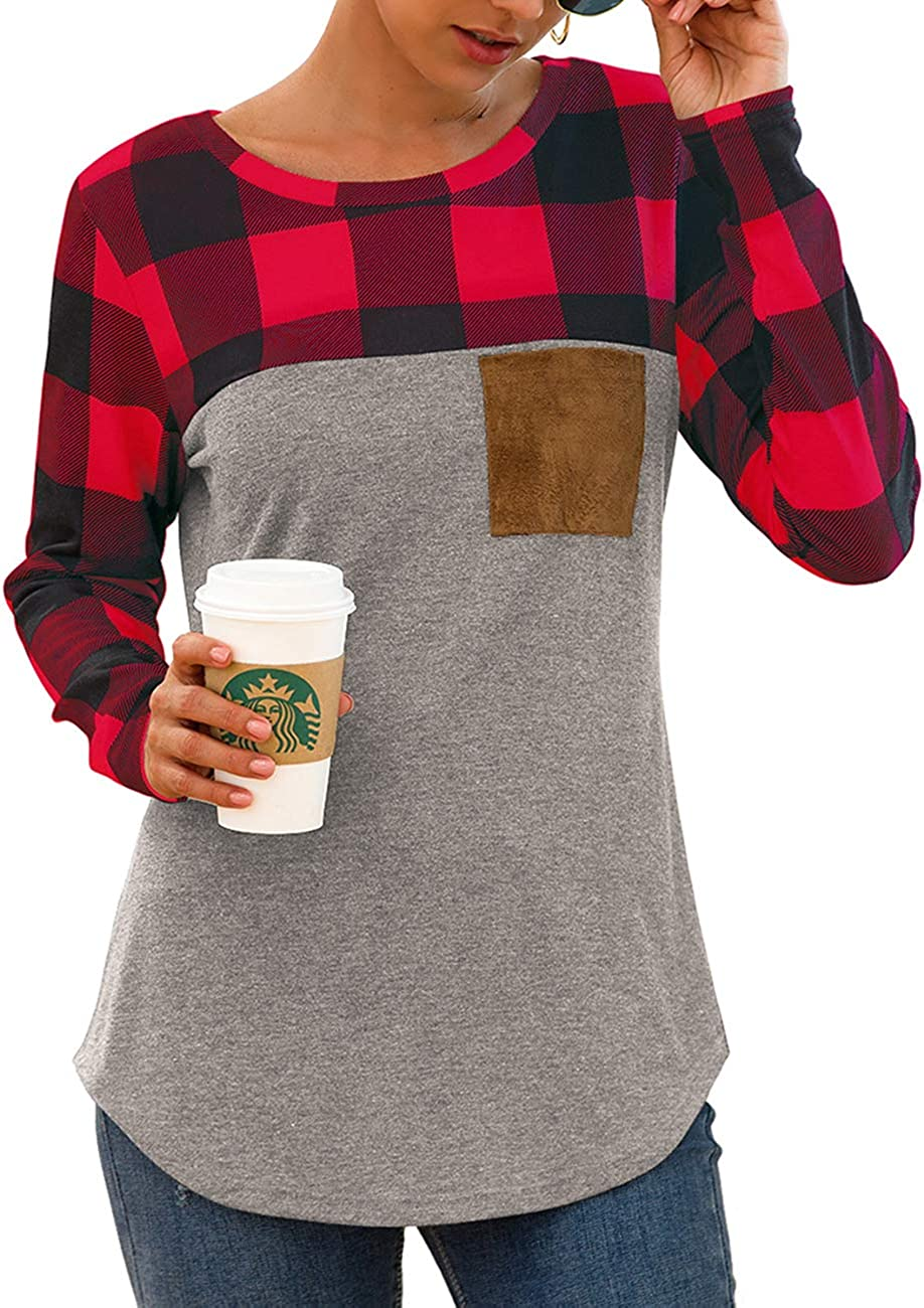 Women's Casual Long Sleeve Plaid Patchwork Tunic Top Loose Sweatshirt Tops Shirts with Suede Pocket