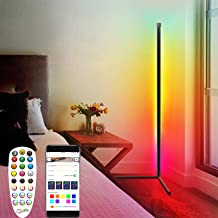 61 Inch LED RGB Color Changing Corner Floor Lamp with Remote, Multicolor Smart APP Controlled Standing Stick Light Minimal...