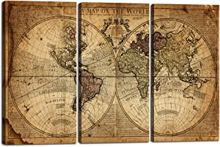 Wall Art Decor Canvas World Map,3 Pieces Framed Large Canvas Art Contemporary Painting Vintage Globe Map Newspaper Background Artwork Pictures for Bedroom Living Room Decoration(40''H x 60''W)