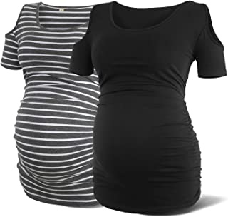 Rnxrbb Women Cold Shoulder Maternity Shirt Short Sleeve Pregnancy Clothes Scoop Neck Side Ruched