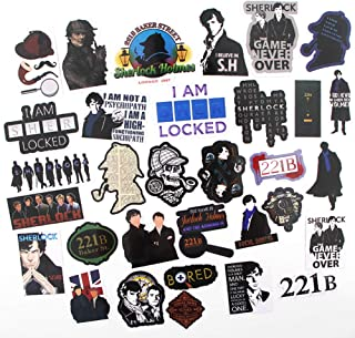 TV Show Shelock Holmes Themed 32 Piece Sticker Decal Set for Kids Adults - Laptop Motorcycle Skateboard Decals