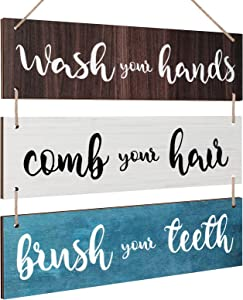 Bathroom Rules Wall Art Sign Family Hanging Wall Sign Funny Bathroom Wooden Hanging Wall Sign Rustic Wood Hanging Decor Wall Decoration for Home Bedroom Outdoor (Brown, White, Blue)