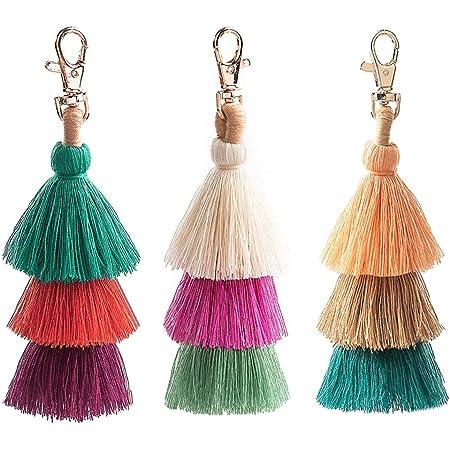 Long Tassel 2 Layer Craft Pendant Key Chain Cotton Hanging Car Bag Decor YO
