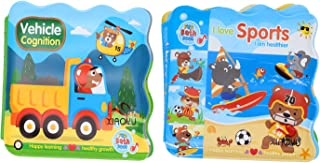 Xiaoyu Floating Baby Bath Books, Kids Learning Bath Toys, Waterproof Bath Time Baby Books, Pack of 2, C