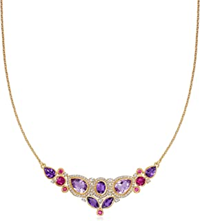 FB Jewels 925 Sterling Silver Amethyst /& .01 CTW Diamond 18 Necklace