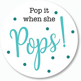 40ct, Pop it When She Pops Stickers, Baby Shower Champagne, Beer, Soda, Wine Favor Stickers, 2 inches (#007-AQ)