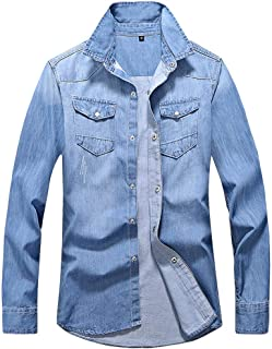Denim Long-Sleeved Shirt Stand Collar Slim Casual Light and Comfortable Work Men'S New Autumn Casual Pockets Tops Blouse