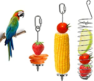 Patioer 3 Pieces Bird Food Holder Stainless Steel Parrot Hanging Vegetable Fruit Feeder Bird Treat Skewer Include 2 Pieces Small and Large Fruit Fork and a Food Basket, Parrot Foraging Toy