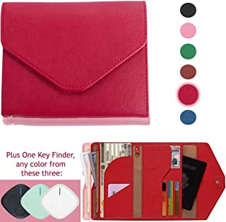 RFID-Wallets for Men and Women Passport Holder Secures Information and Credit Card Blocking Protector with GPS Tracker Bluetooth Key-Finder (1pack, Red)