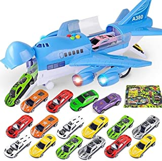 SIMR6 High Simulation Fighter Large Track Inertia Alloy Diecast Airplane Model Military Alloy Fighter Graffiti Pull Back Aircraft Dinky Kids Toys for Children Boys(Color:Blue,White