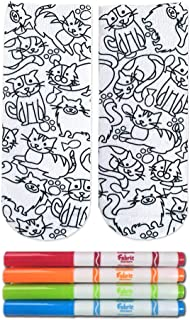Crayola Kid's Color-in Socks - includes 1 Pair of Socks and 4 Fabric Markers by Living Royal (Kittens Galore)