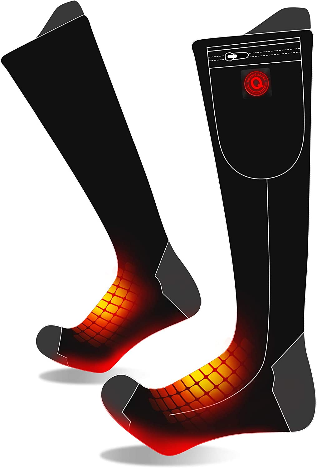 7.4V Heated 激安セール Socks for Men Women-Rechargeable ランキングTOP10 He Battery Electric