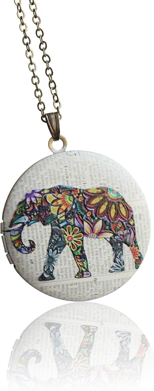 SI EASY Vintage flower elephant 3D Pendant Embo Locket Bombing free shipping Luxury Necklace