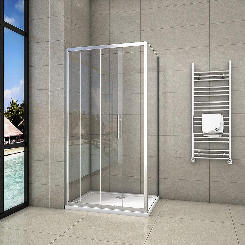 1000x700mm Sliding Shower Door Modern Bathroom Shower Enclosure Cubicles + Side Panel