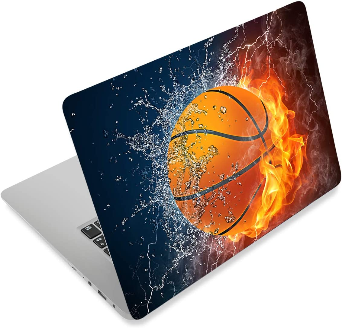 Laptop Notebook Skin Sticker Cover Decal Fits 12 13 13.3 14 15 15.4 15.6 inch Laptop Protector Notebook PC   Easy to Apply, Remove and Change Styles (Basketball Fire)