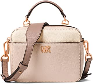 6e9494fa498d MICHAEL MICHAEL KORS Mott Mini Pebbled Leather Crossbody (Soft  Pink/Ecru/Fawn)